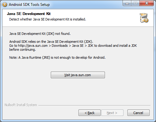 Windows: Android SDK installer does not find Java SE Development Kit