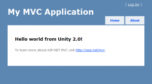 ASP.NET MVC3 and Unity 2.0 screenshot
